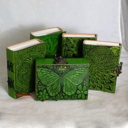 Lederbuch grün mit Motiv