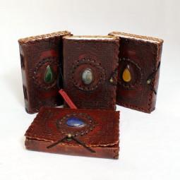 kleines, dünnes Leder Notizbuch mit Stein S (braun)
