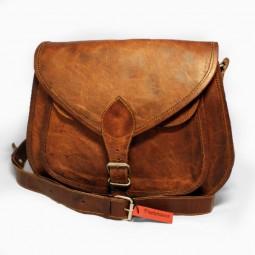 Lederhandtasche groß mit Metallschnalle