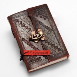 kleines, dünnes Leder Notiz- / Tagebuch S, punziert braun