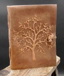 Büffellederbuch mit Baummotiv