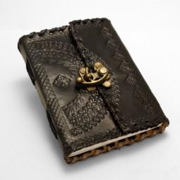 kleines, dünnes Leder Notiz- / Tagebuch S, punziert (schwarz)