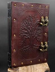 Lederbuch mit Lebensbaum Motiv
