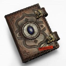 Leder-Ringbuch-Ordner A6 mit Stein