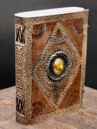 Punziertes Lederbuch mit Stein